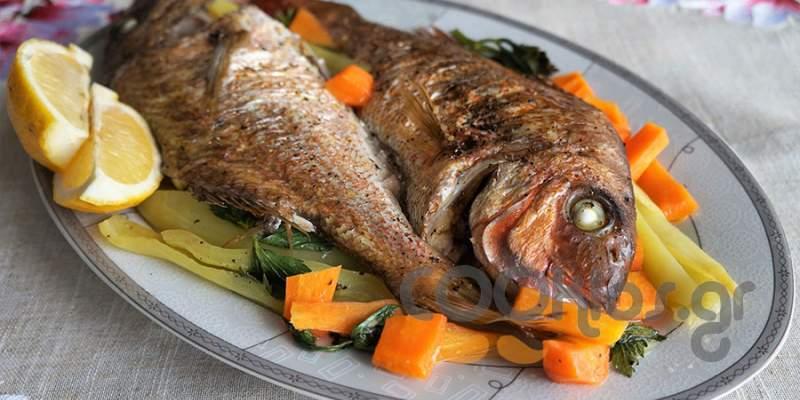 Φαγκρί με λαχανικά στο φούρνο