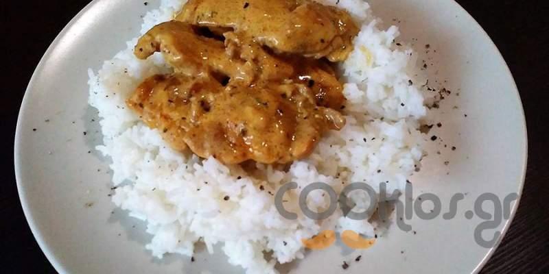 Φιλέτα μπούτι κοτόπουλο με σάλτσα μουστάρδας