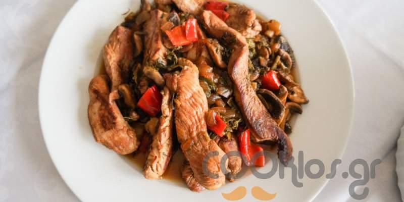 Φιλετάκια κοτόπουλου με μανιτάρια και σέσκουλα